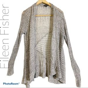 Eileen Fisher L open front knit cardigan ribbed